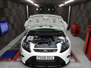 Focus RS Mk2 at PVE on the rolling road having an MSD360 conversion